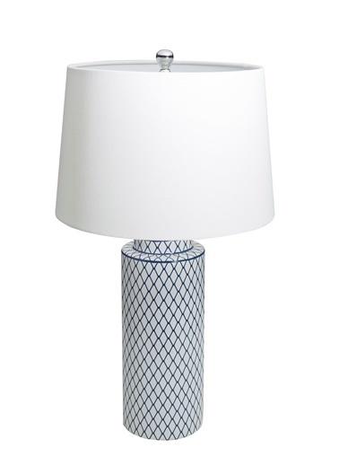 Warm Design Mavi&Beyaz Porselen Masa Abajuru Mavi